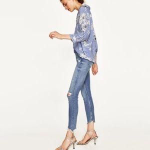Zara High Waist Distressed Raw Hem Skinny Jeans 6